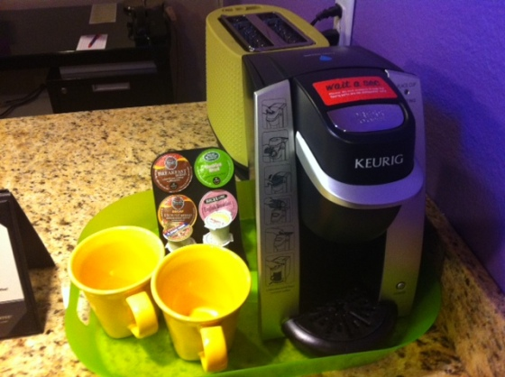 ...with a Keurig, just like home.