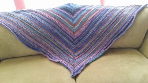 This was a project I worked as stress therapy. I about doubled the number of skeins, because I am not a small person.